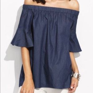 Tops - Off the shoulder chambray Top NWOT